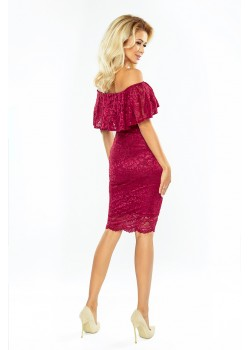 Дантелена миди рокля в цвят бордо MM-013-3