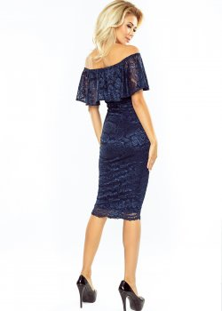 Дантелена миди рокля в тъмносиньо MM-013-4