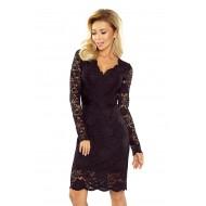 Официална дантелена миди рокля в черно 170-1