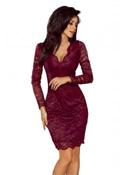 Официална дантелена миди рокля в цвят бордо 170-5