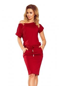 Спортно-елегантна рокля в цвят бордо 139-5