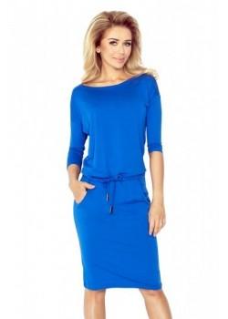 Синя миди рокля с 3/4 ръкав 13-16