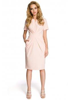 Елегантна миди рокля в цвят пудра M234